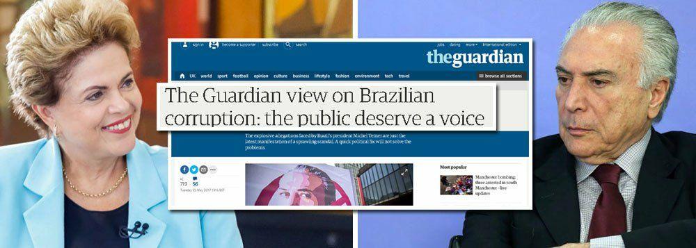 THE GUARDIAN DEFENDE DIRETAS E DIZ O ÓBVIO: POVO BRASILEIRO MERECE TER VOZ